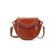 Sac bandoulière simili cuir motif animal crocodile cognac