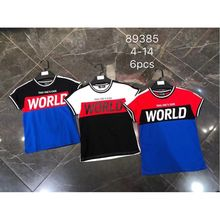 T-shirt bicolore rehaussé de l'inscription «WORLD»