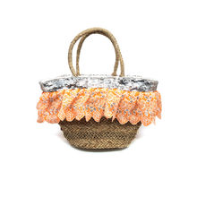Sac de plage en paille bordé paillettes et froufrous orange