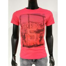"T-shirt à col rond en coton motif ""Give Me Five"" rouge"