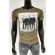 T-shirt en coton kaki avec motif imprimé The Beatles