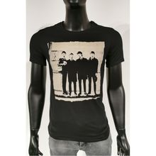 T-shirt en coton noir avec motif imprimé The Beatles