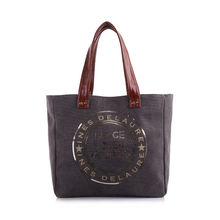Sac cabas gris «Peace Love & Mojitos» en sequins doré