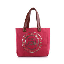 Sac cabas rouge «Peace Love & Mojitos» en sequins doré