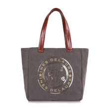 Sac cabas gris clair «Peace Love & Mojitos» en sequins doré