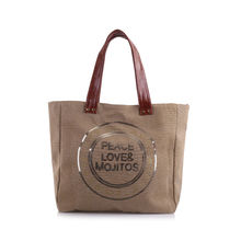 Sac cabas beige «Peace Love & Mojitos» en sequins doré
