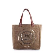 Sac cabas gold «Peace Love & Mojitos» en sequins doré