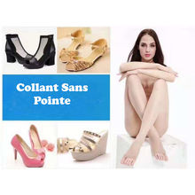 Collant sans pointe beige en voile transparent 20 deniers