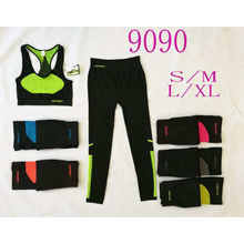 Ensemble brassière de sport + legging long colorblock fluo