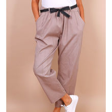 Pantalon paperbag 2 poches à taille haute stretch taupe