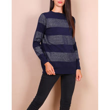 Pull-over col rond marine avec rayures pailletées