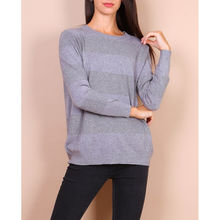 Pull-over col rond gris avec rayures pailletées
