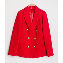 Veste en double boutonnage décor style officier rouge
