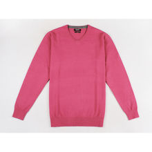 Pull col V toucher cachemire finition bords côtes fuchsia