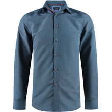 Chemise slim fit bleu avec un micro-impression all-over