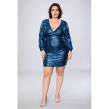 Robe courte recouverte de paillettes brillantes bleu royal