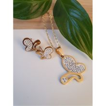 Set boucles d'oreilles + collier avec papillon d'or en strass