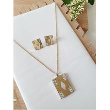 Set boucles d'oreilles + collier doré à plaque rectangle strass