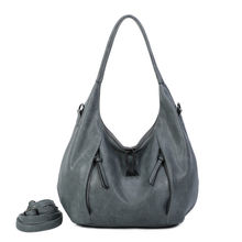 Sac hobo 2 poches verticales frontales à zip gris sauge