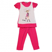 Ensemble fille avec t-shirt 2 en 1 et leggings