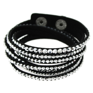 Bracelet double tour multirang clouté de strass