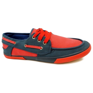 Tennis style chaussures bateau navy/red
