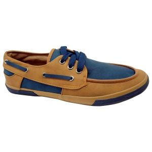 Tennis style chaussures bateau camel/navy