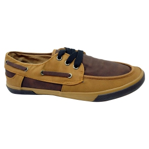Tennis style chaussures bateau camel/brown