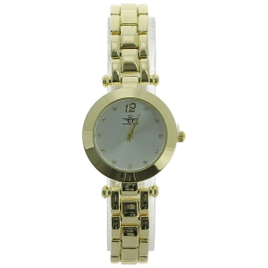 Montre quartz or jaune cadran blanc et index strass