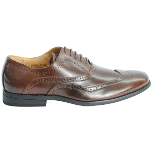 Chaussures bout rond avec perforations camel