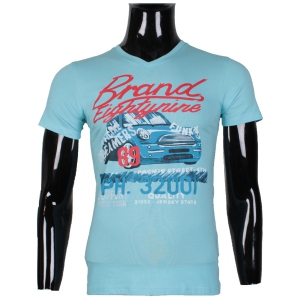 "T-shirt col rond imprimé ""BRAND EIGHTYNINE"" turquoise"