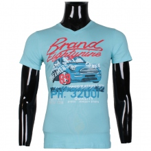 """T-shirt col rond imprimé """"BRAND EIGHTYNINE"""" turquoise"""