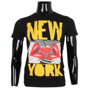 T-shirt homme à imprimé New York lips noir