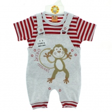 Ensemble t-shirt rayé avec salopette motif monkey
