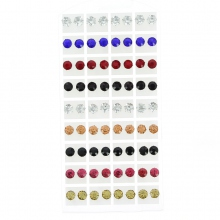 Boucles d'oreilles strass brillants ronds 0,8cm colorées