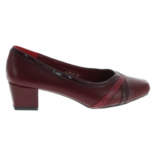 Escarpin bordeaux simili cuir à talon carré de 4,5cm