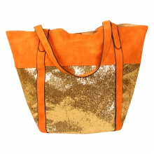 Grand cabas paillettes bicolore à pochette orange