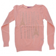Pull rose avec motif Tour Eiffel Paris en strass