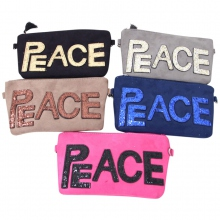 Pochette avec inscription PEACE couleur assortis