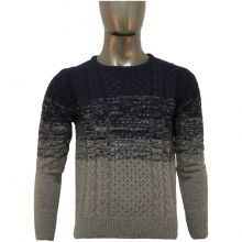 Pull homme col rond à rayures variées marine