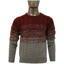 Pull homme col rond à rayures variées rouge