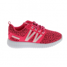 Baskets basses running avec lacets assortis fushia