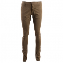 Pantalon chino marron coupe semi-slim avec poches