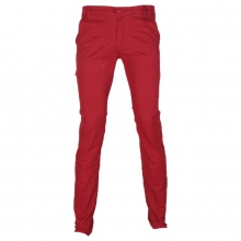 Pantalon chino coupe semi-slim coloris uni rouge