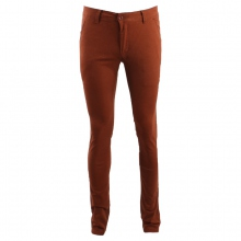 Pantalon chino coupe semi-slim coloris uni rouille