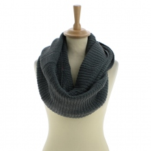 Snood à triple tours en acrylique coloris gris