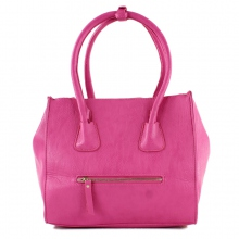 Sac épaule avec zip devant et attache sangle rose