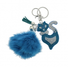 Assortiment porte-clés pompon et chat en strass