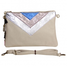 Pochette à empiècement triangle coloris taupe