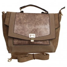 Sac polochon style cartable effet reptile taupe
